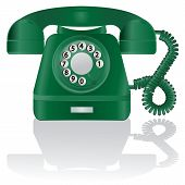 stock photo of bakelite  - Retro Phone on a white background with shadow - JPG