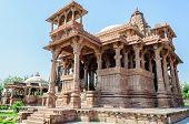 pic of hindu-god  - Ancient rock curved temples of Hindu Gods and godess at Mandor garden Jodhpur Rajasthan India - JPG