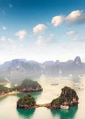Beautiful landscape of Halong Bay in Vietnam South Asian sea. Popular travel destination  poster