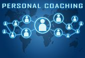 image of self assessment  - Personal Coaching concept on blue background with world map and social icons - JPG
