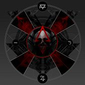 picture of pentacle  - Abstract alchemy bloody pentacle sign with skull - JPG