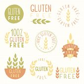 stock photo of wheat-free  - Gluten free labels - JPG