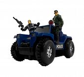 foto of armored car  - Isolated military car standing with armed toy soldiers - JPG