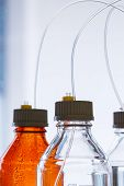 foto of chromatography  - Close up clear and amber color bottle with plastic hose for High performance liquid chromatography  - JPG
