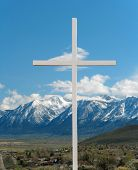 image of sanctification  - A cross in Carson City Nevada with Jobs Peak in the back ground - JPG