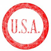 stock photo of initials  - The initials USA on a red grunge effect stamp - JPG