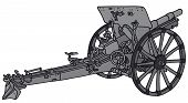 stock photo of cannon  - Vector illustration of hand drawn gray vintage cannon - JPG