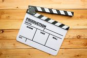 image of slating  - A movie slate film on wooden table - JPG