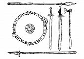 foto of decomposition  - Black and white decomposition of medieval weapons Viking Age - JPG