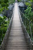 stock photo of shaky  - Swaying footbridge suspended from cables Lookout Mountain Georgia - JPG