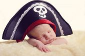 stock photo of pirate hat  - sweet newborn is wearing a pirate hat - JPG
