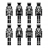 picture of nutcracker  - Vector icons set of Xmas nutcrackers statues isolated on white - JPG