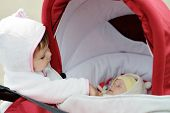 picture of cun  - cunning toddler girl looking into the pram with baby - JPG