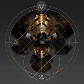 image of skull cross bones  - Abstract alchemy golden pentacle sign with skull and ancient signs - JPG