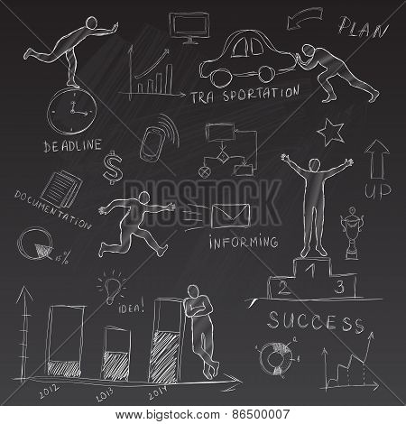 Chalk Infographic With The Silhouette Of The Man