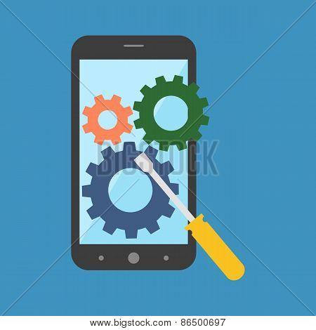 Smartphone Repair Concept. Flat Design.