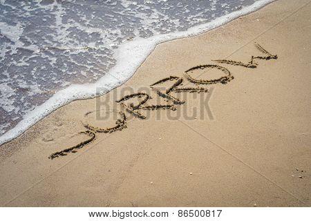 Sorrow Inscription On The Sand