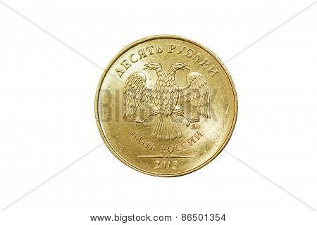 Isolated russian 10 rubles coin