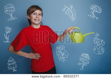 teenager boy with a watering can watering a tree Earth infograph
