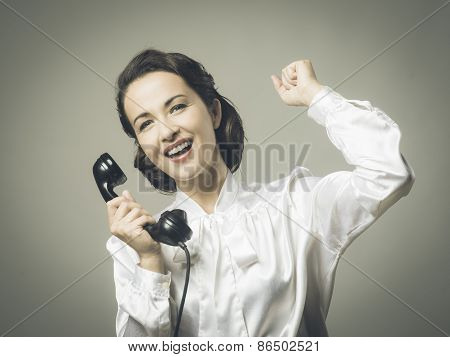 Cheerful Secretary On The Phone
