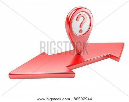 Red Dual  Direction Arrow With Question Symbol And Map Pointer