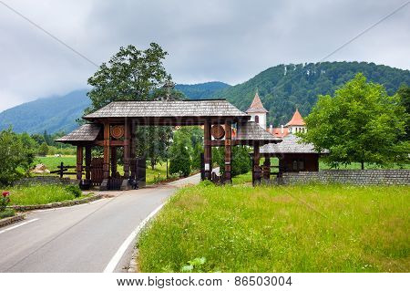 Wood Entrance Gate From Sambata De Sus Monastery In Transylvania