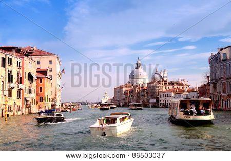 Grand Canal And Basilica Di Santa Maria Della Salute, Venice, Italy