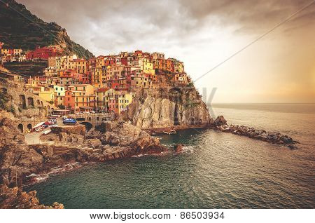 Picturesque Manarola At Sunset