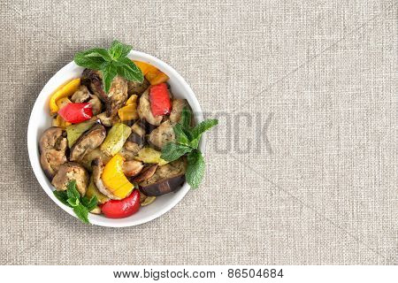 Plate Of Delicious Grilled Fresh Vegetables