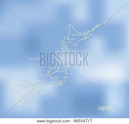 The Map Of Japan On An Indistinct Blue Background.