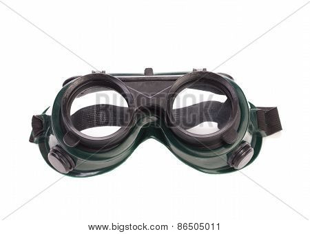 Welding glasses close up.