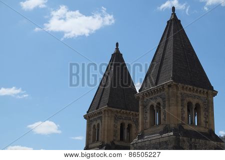 Towers Of Saint Foy Abbey-church Conques