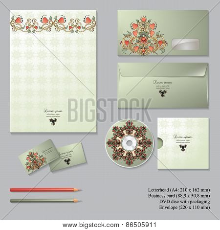 Vector Corporate Identity Templates With  Floral Symmetrical Elements