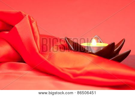 Candle And Red Cloth