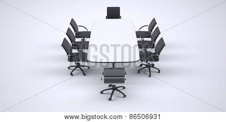 Big conference table and eight black office chairs