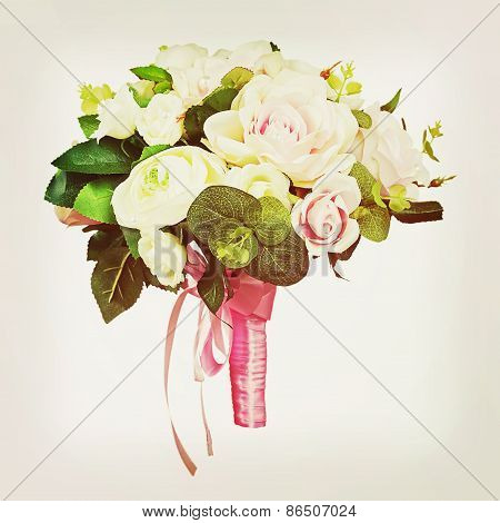 Bouquet From White And Pink Roses With Retro Filter Effect.