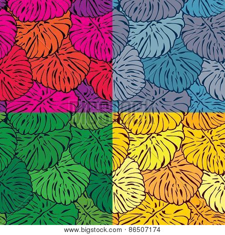 Set Of Seamless Patterns With Palm Trees Leaves In Different Colors.