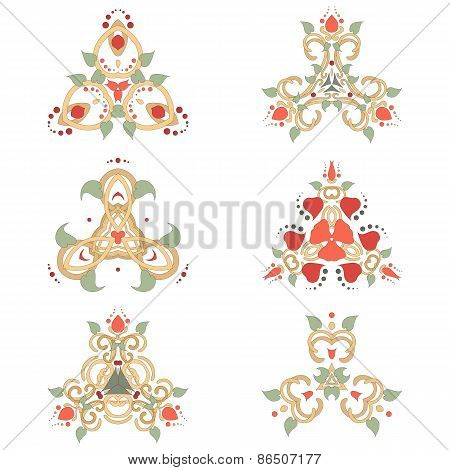 Vector Set Of Six Floral Elements