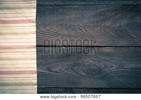 Wooden Table With Kitchen Towel. Background For Recipes