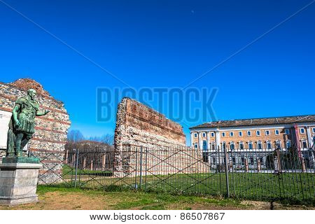 Remain of Roman Walls in Turin, Italy