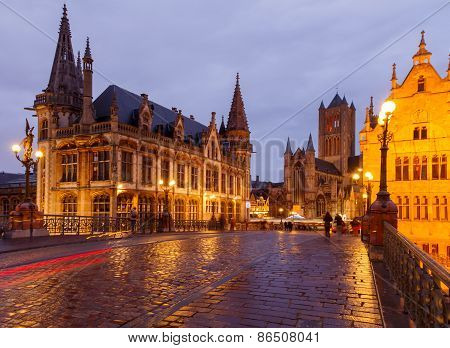 Belgium. Gent At Night.