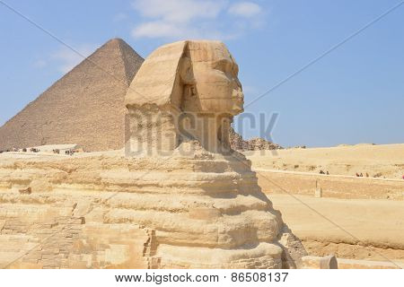 Cairo - Sphinx and Pyramid at Giza, Egypt