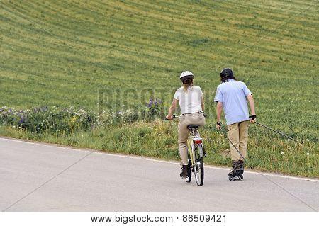 Seniors Exercising Outdoors