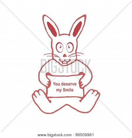 Cute Rabbit With You Deserve My Smile Text Banner