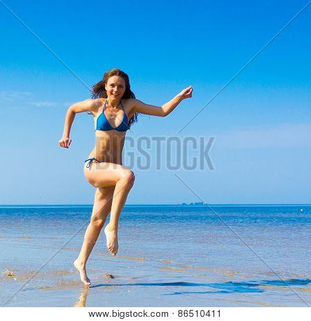 Rushing Girl Along the Shore
