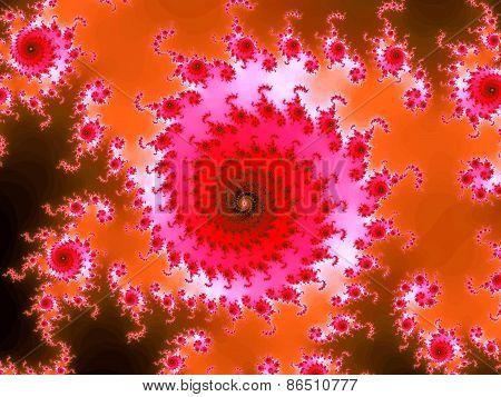 Pink fractal spiral