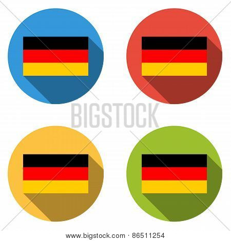 Collection Of 4 Isolated Flat Buttons (icons) With German Flag