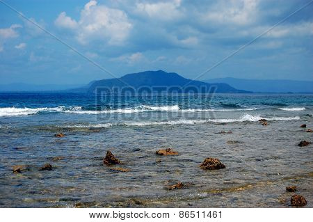Stony Coast At Sea Harbor, Indonesia