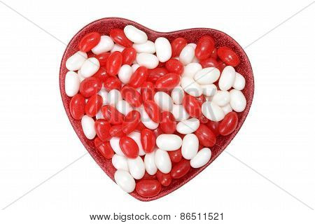 valentines jelly bean in heart bowl