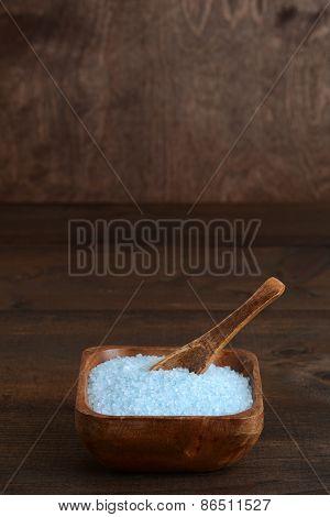 wood bowl of bath salts